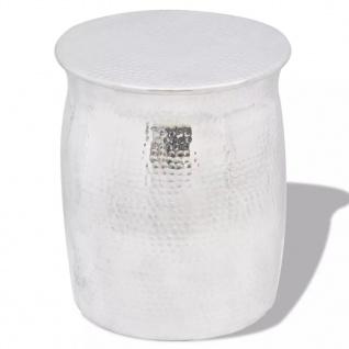 vidaXL Hocker/Beistelltisch aus gehämmertem Aluminium Silbern