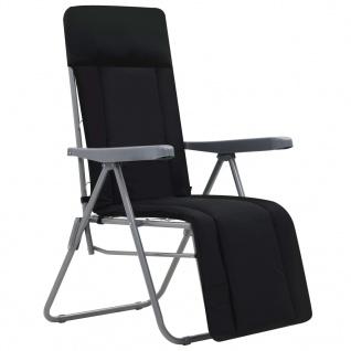 vidaXL Klappbare Gartenstühle mit Polstern 2 Stk. Schwarz - Vorschau 2