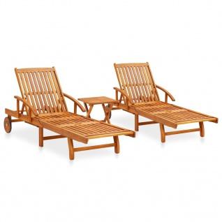 vidaXL 2-tlg. Sonnenliegen-Set mit Tisch Massivholz Akazie