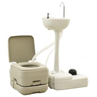 vidaXL Campingtoilette 10+10L und Handwaschbecken 20L Set Tragbar Grau