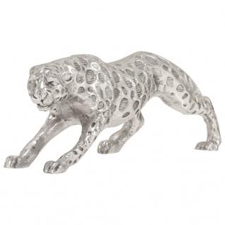 vidaXL Jaguar Skulptur Vollaluminium 50x10x14 cm Silbern