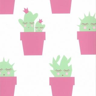 Fabulous World Tapete Cactus Weiß und Rosa 67102-3