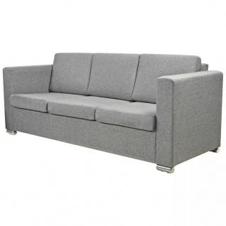 vidaXL 3-Sitzer Sofa Stoff Hellgrau - Vorschau 2
