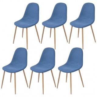 vidaXL Esszimmerstühle 6 Stk. Stoff Blau