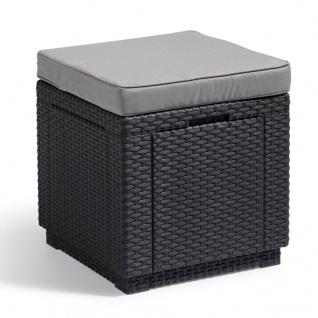 Allibert Cube Sitzhocker mit Stauraum Graphitgrau 213785