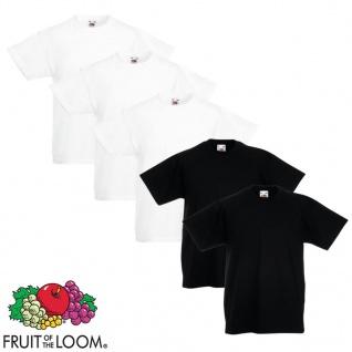 Fruit of the Loom Kinder-T-Shirt Original 5 Stk. Weiß/Schwarz Gr. 140