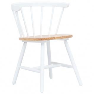 vidaXL Esszimmerstühle 2 Stk. Weiß und Braun Gummiholz Massiv - Vorschau 2