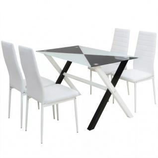 vidaXL 5-tlg. Essgruppe Esstisch und Stühle Kunstleder