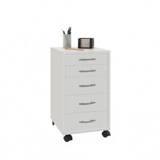 FMD Mobiler Schubladenschrank 5 Schubladen Weiß 336-001