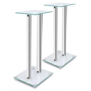 2x Glas Lautsprecherständer (jeder mit 2 silbernen Säulen)