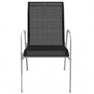 vidaXL Stapelbare Gartenstühle 6 Stk. Stahl und Textiline Schwarz - Vorschau 3