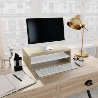 vidaXL Monitorständer Weiß Sonoma-Eiche 42×24×13 cm Spanplatte