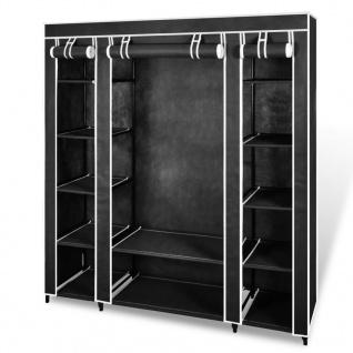 vidaXL Stoffschrank mit Fächern Kleiderstangen 45×150×176 cm Schwarz