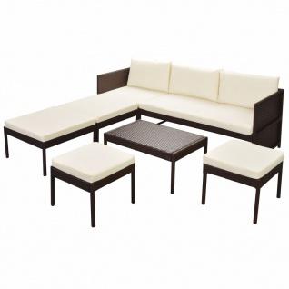 vidaXL 6-tlg. Garten-Lounge-Set mit Auflagen Poly Rattan Braun - Vorschau 2