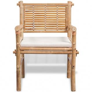 vidaXL Bistro-Set mit Beistelltisch und Sitzkissen Bambus - Vorschau 4