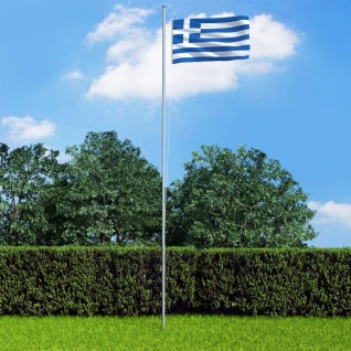 vidaXL Flagge Griechenlands und Mast Aluminium 6, 2 m
