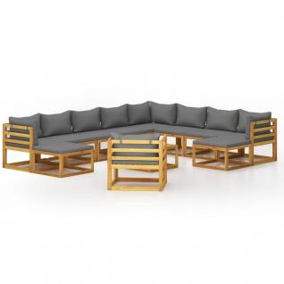 vidaXL 12-tlg. Garten-Lounge-Set mit Auflagen Massivholz Akazie