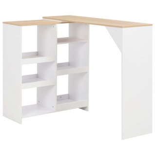 vidaXL Bartisch mit Beweglichem Regal Weiß 138x39x110 cm