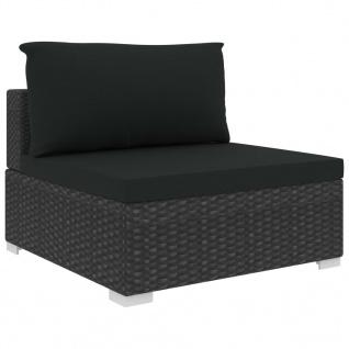vidaXL 12-tlg. Garten-Lounge-Set mit Auflagen Poly Rattan Schwarz - Vorschau 5