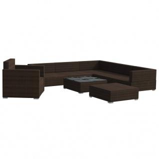 vidaXL 8-tlg. Garten-Lounge-Set mit Auflagen Poly Rattan Braun - Vorschau 3