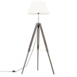 vidaXL Stativlampe Grau und Weiß Teak Massivholz 141 cm
