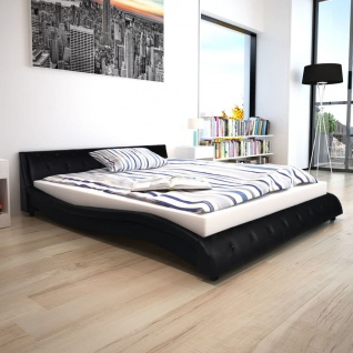 vidaXL Bett mit Memory Schaum Matratze Kunstleder 160x200 cm schwarz