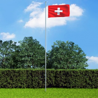 vidaXL Flagge der Schweiz und Mast Aluminium 6, 2 m
