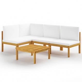 vidaXL 5-tlg. Garten-Lounge-Set mit Kissen Cremeweiß Massivholz Akazie