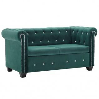 vidaXL Chesterfield Sofa 2-Sitzer Samtbezug 146 x 75 x 72 cm Grün