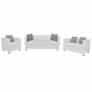 vidaXL Sofa-Set Kunstleder 3-Sitzer + 2-Sitzer + Sessel Weiß