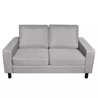 vidaXL Sofa 2-Sitzer Stoff Hellgrau - Vorschau 5