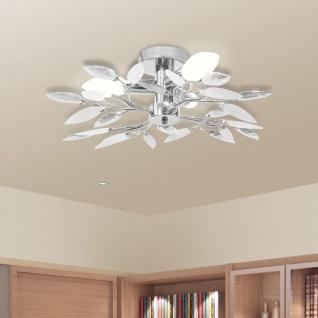 vidaXL Deckenleuchte Weiße & Klare Acrylglas-Blätter 3 × E14-Lampen