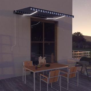 vidaXL Markise mit Windsensor & LED 350x250cm Blau und Weiß