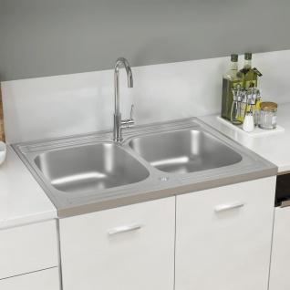 vidaXL Küchenspüle mit Doppelbecken Silbern 800x600x155 mm Edelstahl