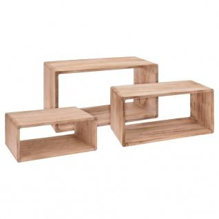 Home& Styling Wandregal-Set 3 Stk. Paulownia-Holz