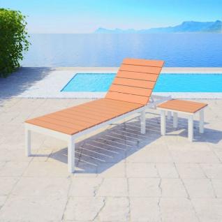 vidaXL Sonnenliege mit Tisch Aluminium WPC Weiß und Braun