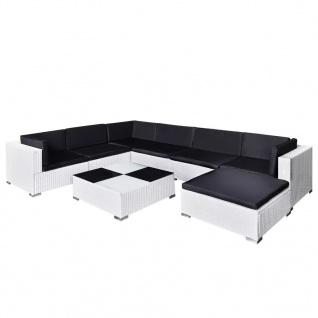 vidaXL 8-tlg. Garten-Lounge-Set mit Auflagen Poly Rattan Weiß - Vorschau 2
