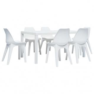 vidaXL 7-tlg. Garten-Essgruppe Kunststoff Weiß