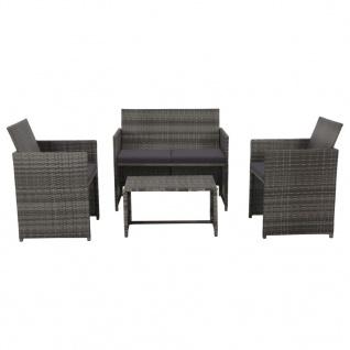 vidaXL 4-tlg. Garten-Lounge-Set mit Auflagen Poly Rattan Grau