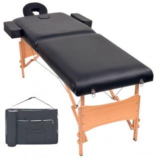 vidaXL Massageliege 2 Zonen Tragbar 10 cm Polsterung Schwarz