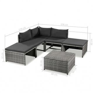 vidaXL 6-tlg. Garten-Lounge-Set mit Auflagen Poly Rattan Grau - Vorschau 5