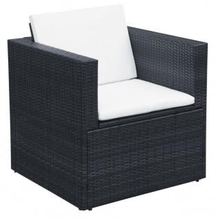 vidaXL 9-tlg. Garten-Lounge-Set mit Auflagen Poly Rattan Schwarz - Vorschau 5