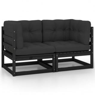 vidaXL 2-Sitzer-Gartensofa mit Kissen Schwarz Kiefer Massivholz
