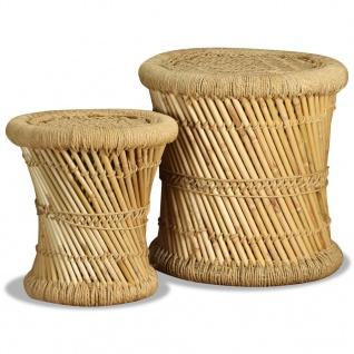 vidaXL Hocker-Set 2 Stk. Bambus Jute