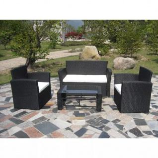 vidaXL 4-tlg. Garten-Lounge-Set mit Auflagen Poly Rattan Schwarz - Vorschau 2