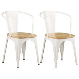 vidaXL Esszimmerstühle 2 Stk. Mangoholz Massiv 51 x 52 x 84 cm Weiß