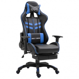 vidaXL Gaming-Stuhl mit Fußstütze Blau Kunstleder - Vorschau 1