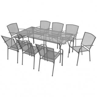 vidaXL Garten-Essgruppe 9-tlg. Stahlgewebe