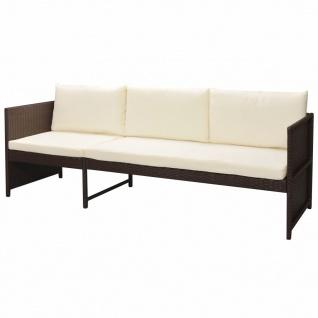 vidaXL 6-tlg. Garten-Lounge-Set mit Auflagen Poly Rattan Braun - Vorschau 4
