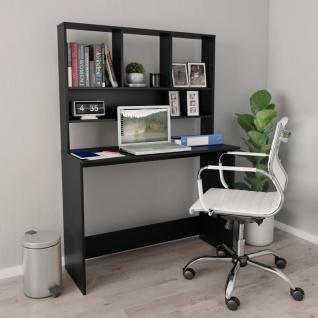 vidaXL Schreibtisch mit Regalen Schwarz 110×45×157 cm Spanplatte